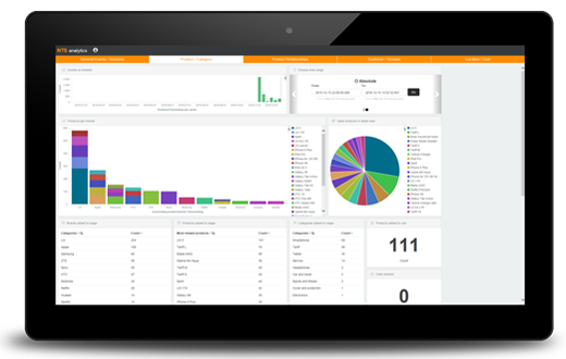 NTS Retail Analytics software running on tablet