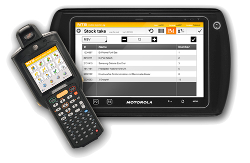 NTS mobile logistics software running on tablet and handheld device