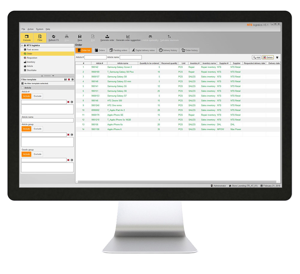 NTS stock management software running on desktop PC