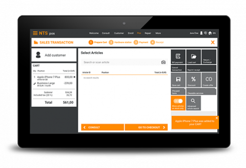 NTS mobile pos on a tablet