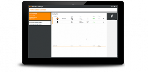 Queue Management Software on a tablet