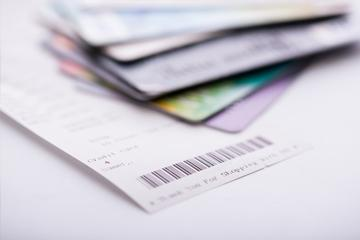 Shopping receipt and credit or debit card image small