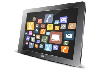 Vector tablet computer and icon application on screen image small