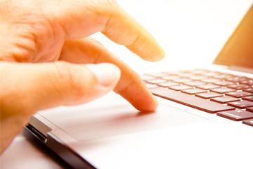 Hand using computer PC image small