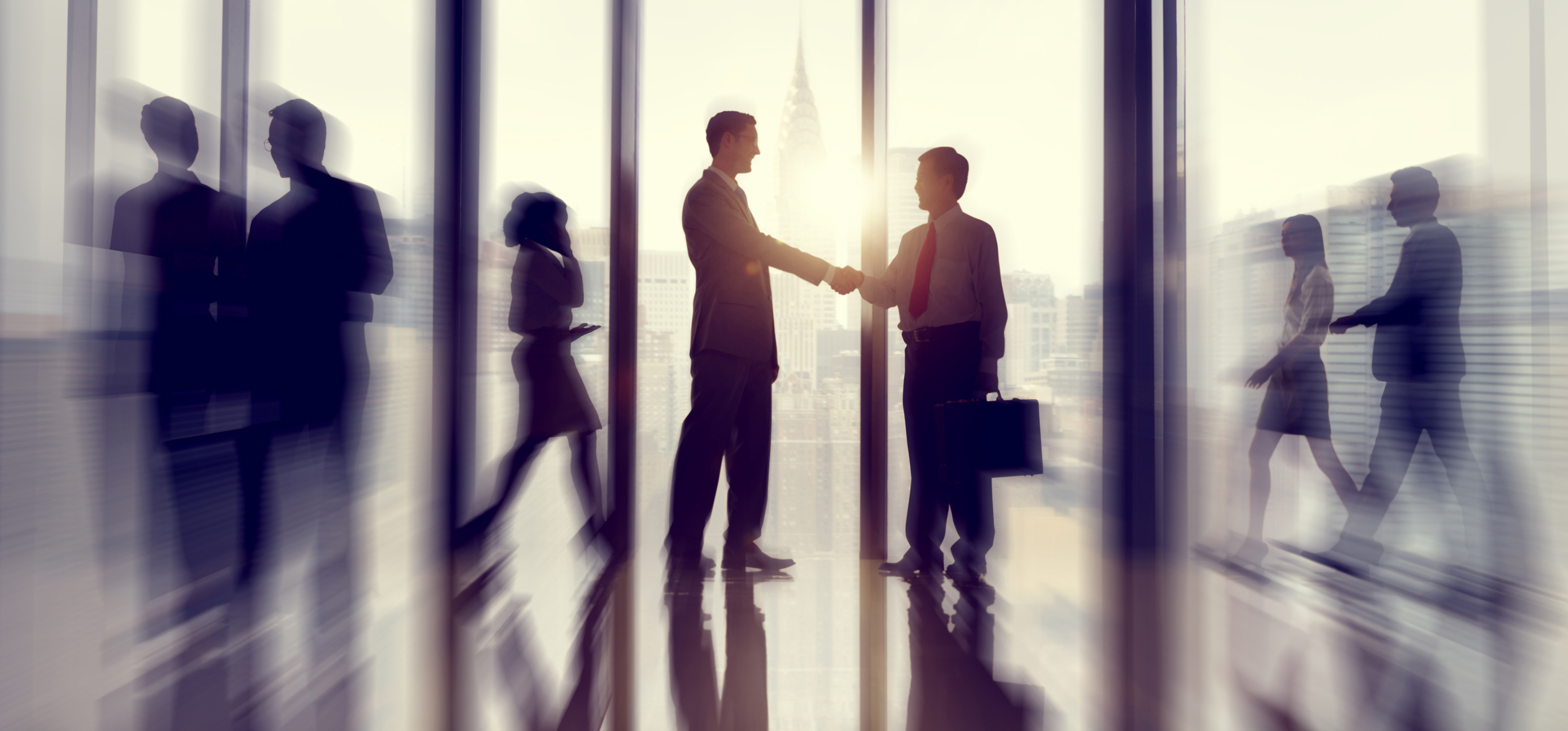 Group of business people in office building background image
