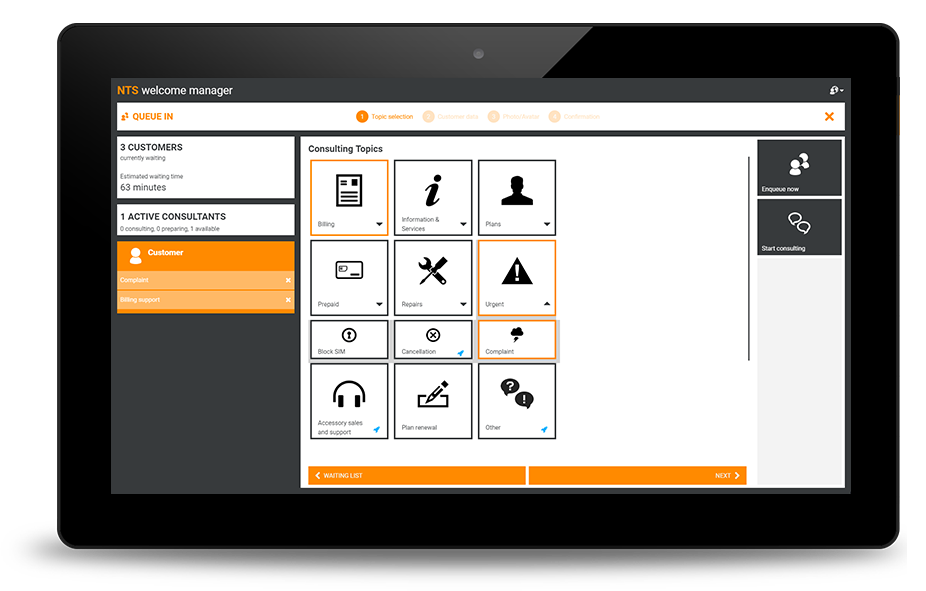 NTS Retail queue management software running on tablet